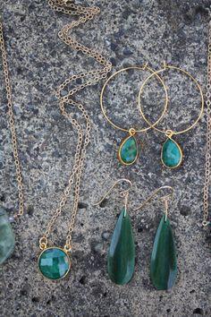 Gold Bezel Set Emerald Stone Hoop Earrings by JESDesignStudio