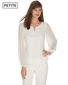 Petite Long Sleeve Square Clip White Blouse