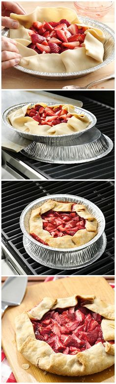 Grilled Strawberry Pie Grilled Strawberry Pie ~ So fun! Easy and the perfect berry dessert for summer cookouts and parties!Grilled Strawberry Pie ~ So fun! Easy and the perfect berry dessert for summer cookouts and parties! Grilled Desserts, Grilled Fruit, Köstliche Desserts, Delicious Desserts, Yummy Food, Desserts On The Grill, Cooking On The Grill, Grilling Recipes, Cooking Recipes