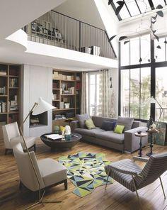 Beau #salon #contemporain... #déco #maison #inspiration  http://www.m-habitat.fr/par-pieces/salon-et-salle-a-manger/un-salon-moderne-deco-et-amenagements-possibles-2639_A