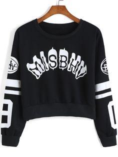 Black Round Neck Letters Print Crop Sweatshirt