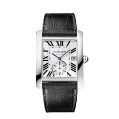 Cartier Tank MC. Steel case, octagonal crown set with a synthetic spinel, sapphire crystal, silvered flinqué dial, blued steel sword-shaped hands, semi-matte black alligator leather strap, ref.KD4UJK97, steel 20 mm double adjustable deployant buckle, Manufacture mechanical movement with automatic winding caliber 1904-PS MC, calendar aperture at 3 o'clock and small second at 6 o'clock, sapphire back, water resistant up to 30 m. Case dimensions: 34.3 x 44.0 mm, 9.5 mm thick. $7,000