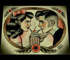 Rockabilly couple tattoo.  I think this would be fun if you had swapped the girl for another guy.