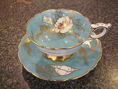 ROYAL STAFFORD TEACUP CUP & SAUCER SOFT BLUE TURQUOISE HEAVY GOLD GILT