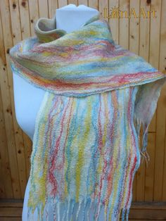 Felted shawl Watercolor Gift for her Winter accessories Felt