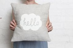 Hello Cushion Cover - White on Etsy, $36.58