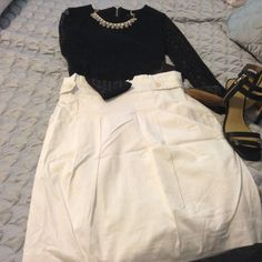 """BCBGMAXAZRIA SHANA HIGH-WAISTED SKIRT A box-pleated paperbag waist styles a crisp stretch-cotton skirt with a short, straight shape. Button-tab detail at waist. Angled front pockets. Approx. length: 21, waist 30"""" Cotton/spandex; dry clean. By BCBGMAXAZRIA; color: white BCBGMaxAzria Skirts A-Line or Full"""