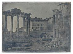 Rome: Le Forum romain avec Temple de Saturne 1840 (ca) Daguerreotype
