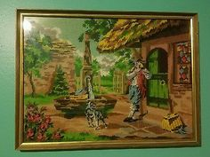 """Completed Finished Cross Stitch Art Framed Scenic 22""""x~16"""" Fountain Dog Flutist • $34.95"""