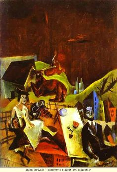 Max Ernst. Family Excursions. c.1919. Oil on canvas. 36 x 26 cm. Narodni Gallery, Prague, Czech Republic