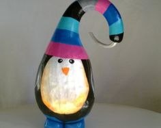 christmas gourds crafts | Christmas Penguin Gourd Handpainted Holiday Decoration and Accessory ...