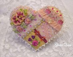 Sweet peach crazy quilt pin / brooch