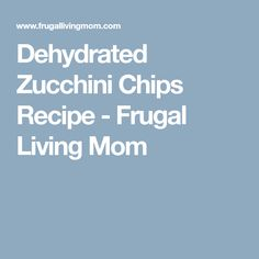 Dehydrated Zucchini Chips Recipe - Frugal Living Mom