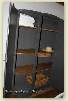 Armoire 3 portes devenue gris anthracite et étagères naturelles avec pochoirs
