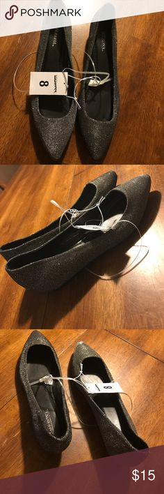 Sparkle Pointe Mary Janes Charcoal colored silver pointed Mary Janes super cute size 8 new with tags Merona Merona Shoes Flats & Loafers