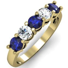 Carat (ctw) White Gold Round Blue Sapphire and White Diamond Ladies 5 Stone Bridal Wedding Band Anniversary Ring 1 CT. An outstanding collection of Diamond Jewelry at great prices from Dazzling Rock. The Sapphires, Sapphire Anniversary, Anniversary Rings, Wedding Anniversary, Sapphire Wedding Rings, Diamond Wedding Bands, Diamond Rings, Sapphire Rings, Sapphire Diamond