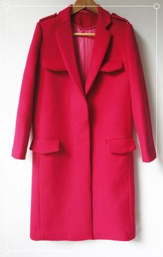 Custom Made Rose Red Cashmere Wool Overcoat  0029 by JeniMissS