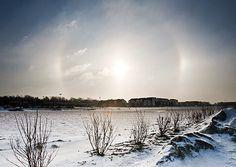 Weather photo: sun dogs above cold Omaha, Nebraska