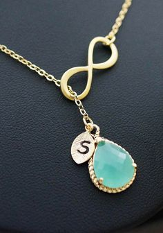 Infinity and mint glass lariat necklace infinity door earringsnation