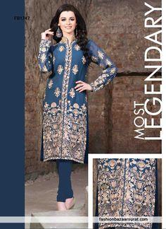 Tantalizing Blue Sherwani Style Churidar Suit