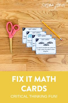 These fix it cards are the perfect higher order thinking tasks for your first or second grade students! Each math skill has 20 different cards where my students need to identify what is wrong on the card and explain how they fix it! I love these for whole group and small group math lessons! Head over to the blog to learn more!  #firstgrademath #higherorderthinking #firstgradeactivities