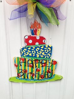 Birthday door hanger cupcake door hanger by Furnitureflipalabama, $35.00