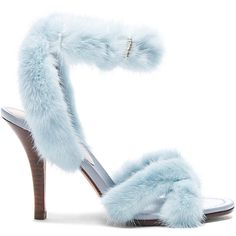 Valentino Mink Fur Ankle Strap Heels (€775) ❤ liked on Polyvore featuring shoes, heels, sandals, wrap around shoes, fur shoes, leather sole shoes, wrap shoes and valentino shoes
