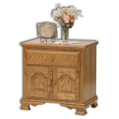 "Amish Bedroom Furniture - Heritage 2-Door, 1-Drawer Nightstand 26 1/2""W x 17""D x 26""H"