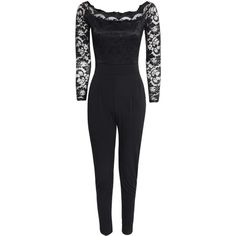 Boohoo Emily Scallop Lace Off The Shoulder Jumpsuit   Boohoo (79 BRL) ❤ liked on Polyvore featuring jumpsuits, party jumpsuits, off the shoulder jumpsuit, off shoulder jumpsuit, disco jumpsuit and cocktail party jumpsuit