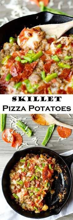 Skillet Pizza Potatoes >> by Tastes of Lizzy T's. Golden fried, skillet pizza potatoes topped with pizza sauce, gooey cheese and the pizza toppings of your choice. This is a great option for those on a grain free and gluten free diet.