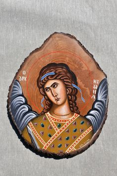 Archangel Michael handpainted byzantine icon on wood Byzantine Icons, Archangel Michael, Princess Zelda, Disney Princess, Disney Characters, Fictional Characters, Hand Painted, Canvas, Wood