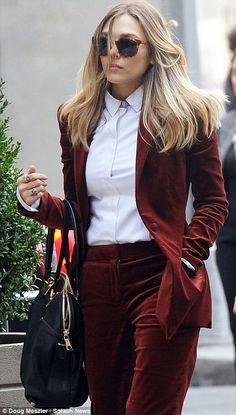 Eliza beth Olsen in a velvet suit? yes