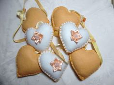 Felt Heart Garland Peach & White  REDUCED PRICE by DaisyFelts