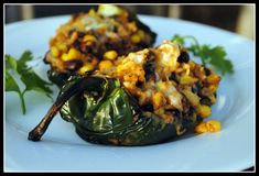 Vegaterian stuffed poblano peppers