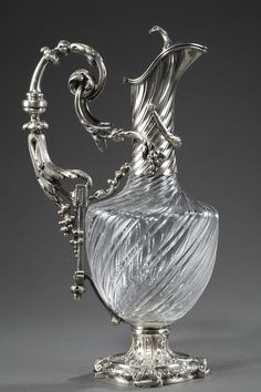 Napoleon III late 19th century silver and crystal ewer