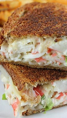 Use light swiss (one block for one sandwhich, 2 for Add… Crab Grilled Cheese. Use light swiss (one block for one sandwhich, 2 for Add spinach, tomato, and dijan or saracha. Grill Sandwich, Soup And Sandwich, Sandwich Recipes, Fish Recipes, Seafood Recipes, Cooking Recipes, Grilled Crab Sandwich Recipe, Chicken Sandwich, Barbecue Recipes