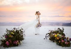 Spring elopement styled shoot at the Bonneville Salt Flats out in Utah! Lucy & Harrison braved the strong winds and were blessed with the most gorgeous sunset of all time. How gorgeous is her white Carol Hannah gown? Planned and styled by Traveling Shoots with Taylor; Florals by Eventstems; Photographed by Swan Photo + Video Fort Worth Wedding, Bridal Gowns, Wedding Dresses, Utah Wedding Photographers, Elopement Inspiration, Swan, Dallas, Florals, Blessed
