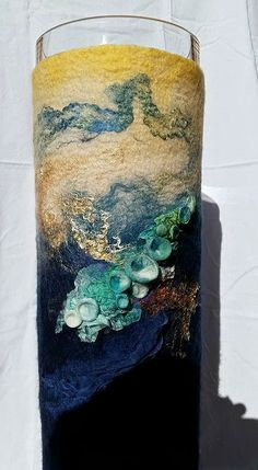 Preparing for an upcoming exhibition in November - this is Rae test peice for her new totem series. It's 68 cm tall. Felt Crafts, Crafts To Make, Arts And Crafts, Textile Fiber Art, Textile Artists, Nuno Felting, Needle Felting, Nuno Felt Scarf, Wool Art
