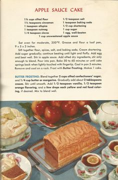 Vintage Recipes, 1950s Cakes, Apple Sauce Cake