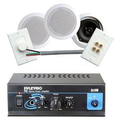 Pyle Home Hot Amplifier/Speaker Combo -- Mini 2 x 15-Watt Stereo Power Amplifier + Pair of 5.25-Inch 200 Watts In-Ceiling Coaxial Speakers, 50 Ft. 16-Gauge Speaker Cable, Stereo In-Wall Mounted Rotary Volume Control, Clean Wall Plate