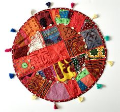 Patchwork Round Cushion Cover Indian Handmade by PureIndianArt