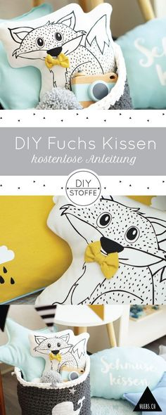 Filou sewing - instructions and sewing patterns at diy-fabrics Sourc Embroidery On Clothes, Shirt Embroidery, Embroidery Patterns, Sewing Patterns, Sewing Pillows, Diy Pillows, Baby Room Diy, Baby Kind, Embroidery Techniques
