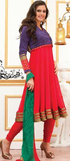 $155.68 Red Full Sleeve Faux Georgette Knee Length Anarkali Salwar Kameez 19452