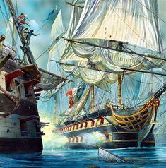 Magnífica obra de Peter Dennis mostrándonos a un dos puentes francés combatiendo contra otro británico. Más en www.elgrancapitan.org/foro