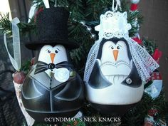 Penguin Bride and Groom Lightbulb Ornaments by CyndiMacsNickKnacks, $35.00