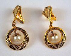 Vintage Toledoware Dangle Earrings with Faux Pearl on Etsy