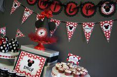 Red Black white polka dot MInnie Mouse BIrthday Party Ideas