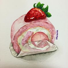 Pin von yoyo li auf something in 2019 watercolor food, food painting und fo Dessert Illustration, Japon Illustration, Watercolor Food, Watercolor Art Paintings, Sweet Drawings, Art Drawings, Food Sketch, Food Painting, Pastry Art