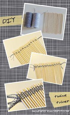 Twine/wooden dowel trivet DIY