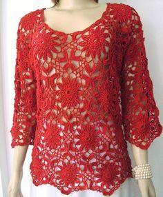 e5fdbaf665 Blusa em Crochê Cor vermelha SÓ ENCOMENDA Cor preta 100% algodão Veste  Busto até 112cm Manga 38cm Comprimento 66cm TENHO NA COR PRETA E VERMELHA
